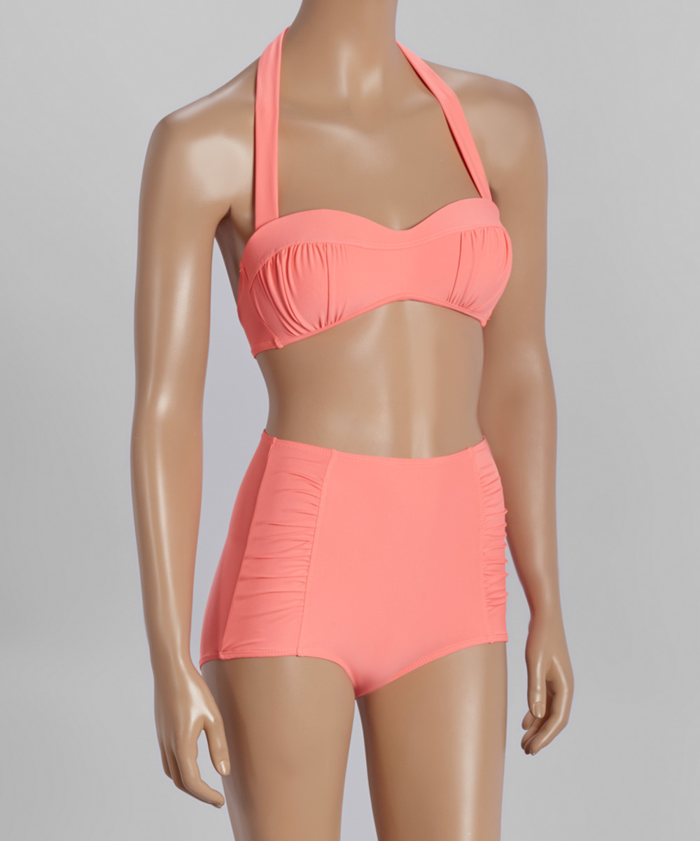 Peach Ruched High-waist Bikini