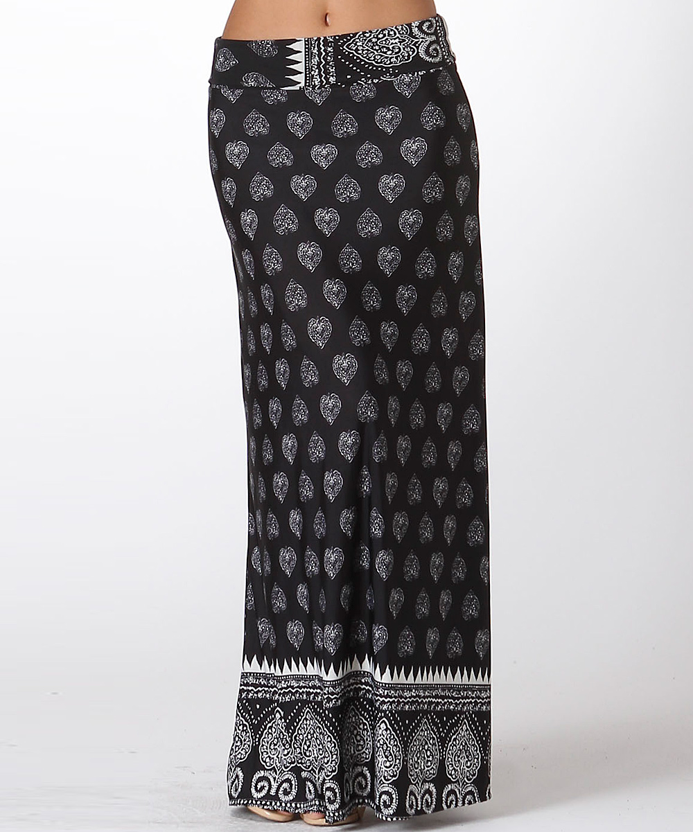 bold beautiful black white damask maxi skirt zulily
