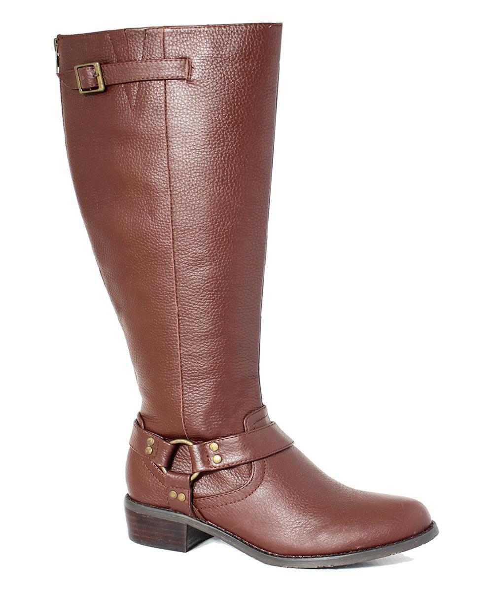 intaglia cognac casco wide calf leather boot zulily