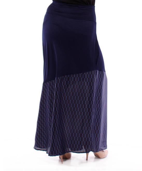 navy contrast maxi skirt plus zulily