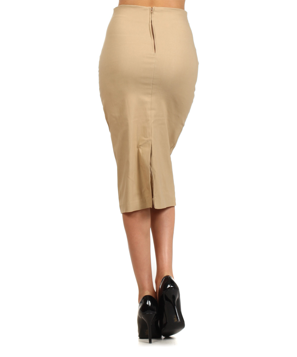 j mode usa los angeles khaki buckle pencil skirt