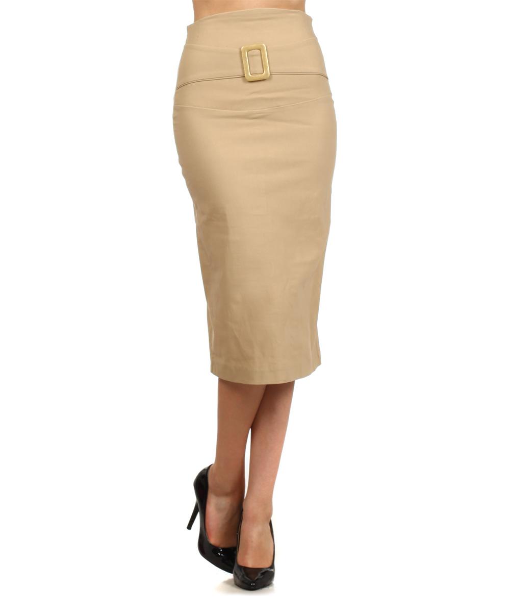 khaki buckle pencil skirt
