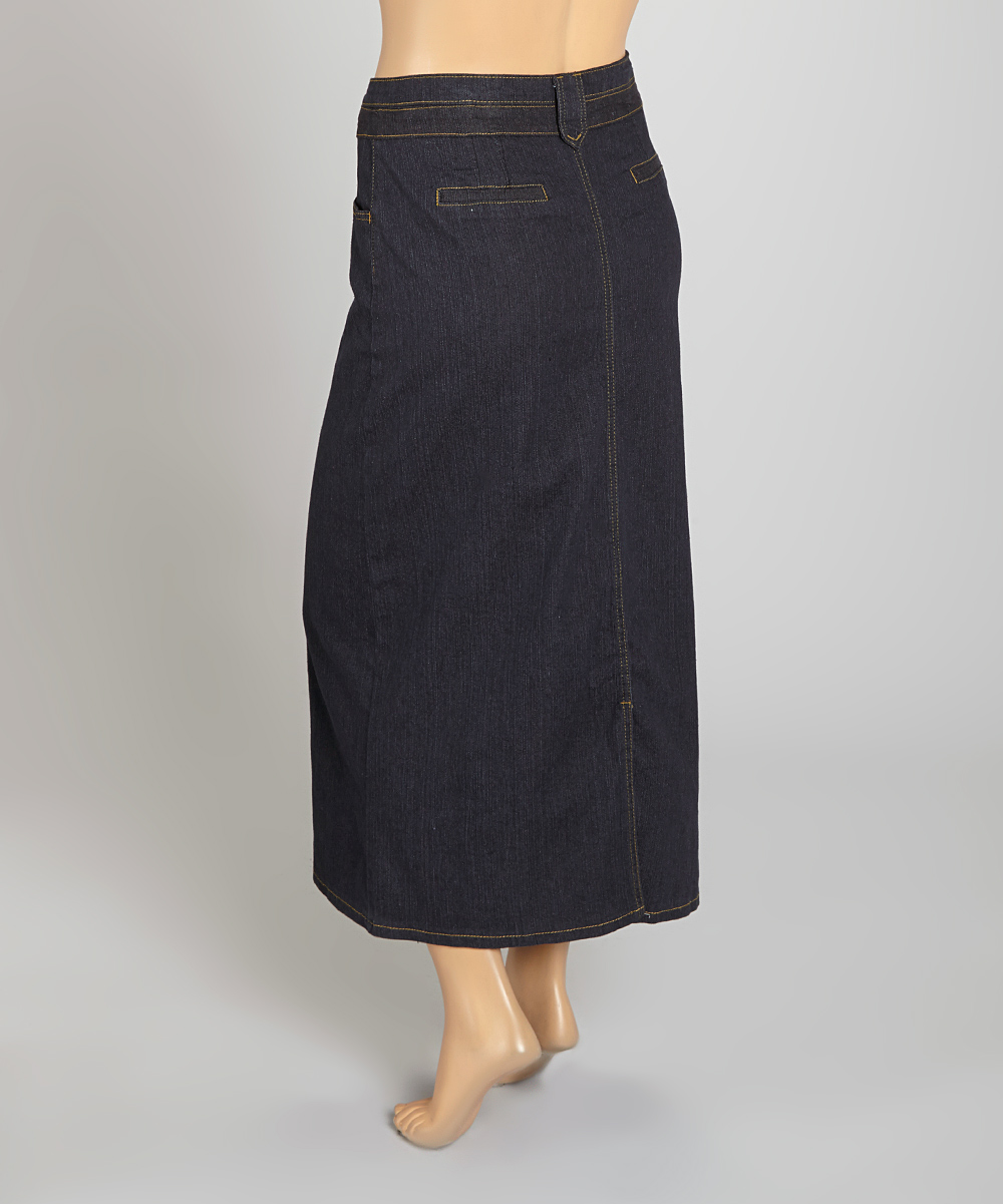 be clothing black denim maxi skirt plus zulily