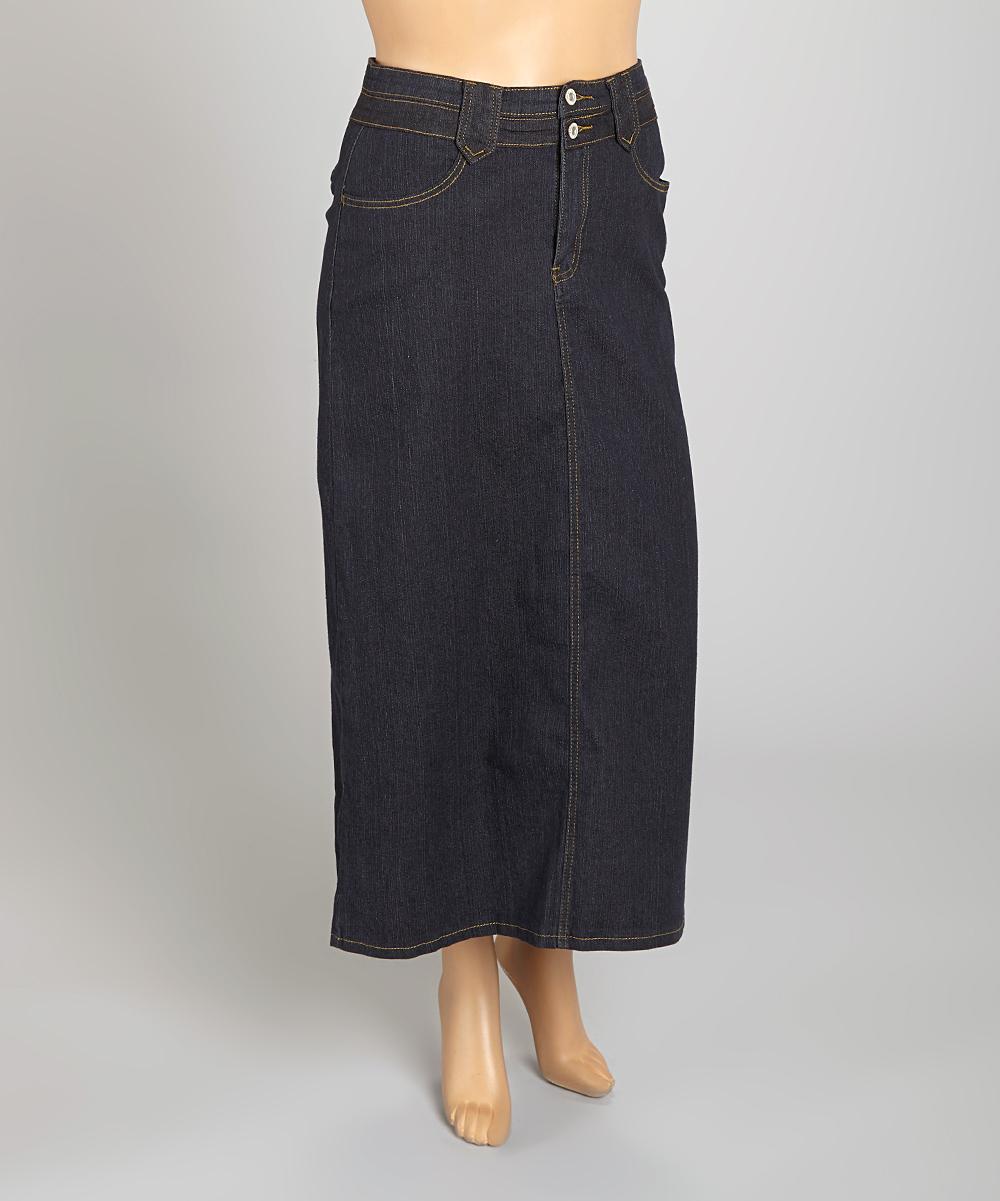 be clothing black denim maxi skirt plus zulily