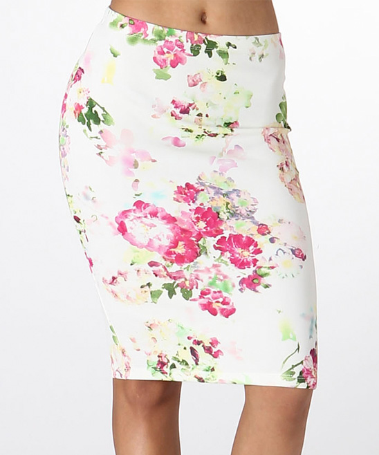 lara fashion white pink floral pencil skirt