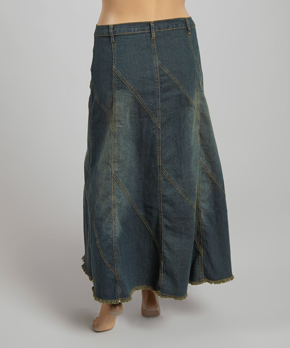 be clothing vintage wash tiered denim maxi skirt