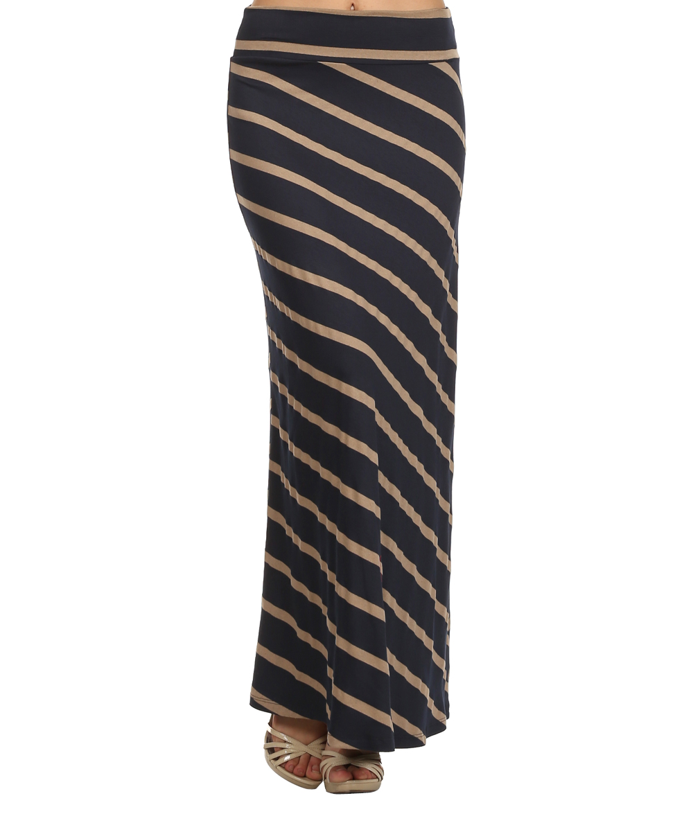 j mode usa los angeles navy taupe stripe maxi skirt zulily