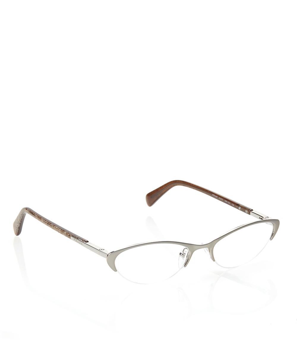 Prada Eyeglass Frames Cateye : Prada Silver 51-mm Semi-Rimless Cat-Eye Eyeglasses zulily