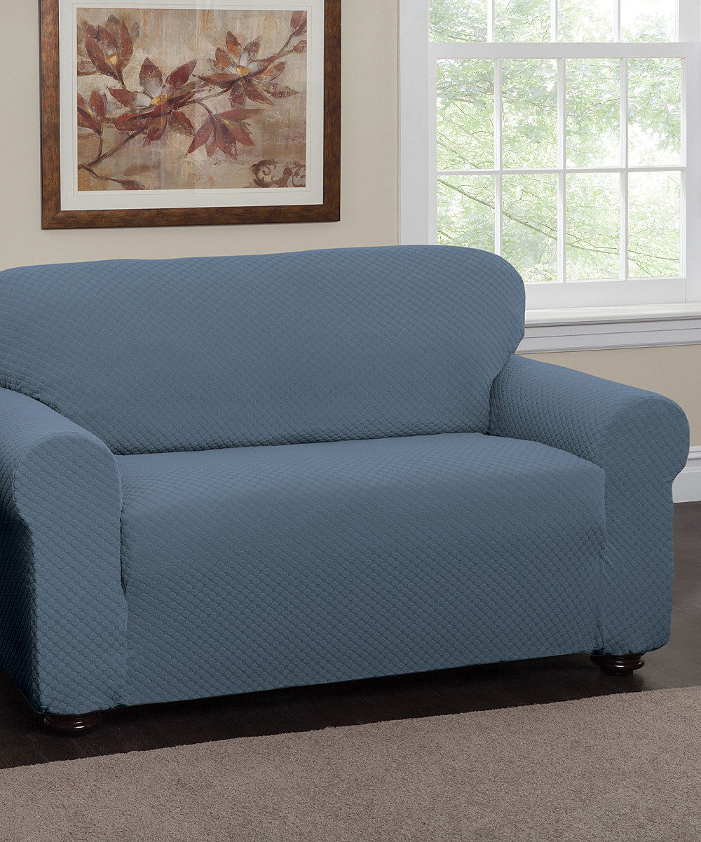 Jeffrey fabrics blue dots stretch sofa slipcover zulily Blue loveseat slipcover
