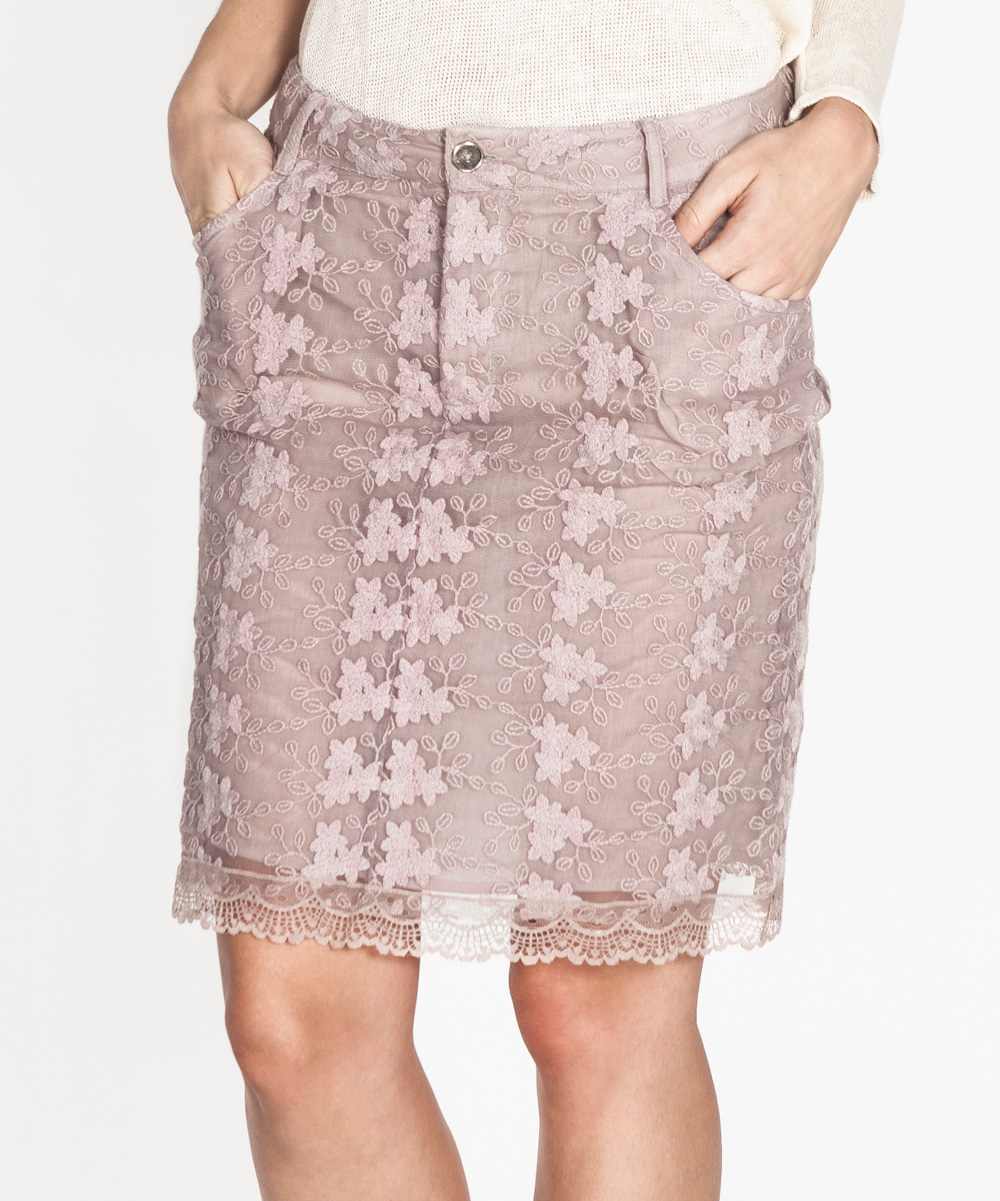 tantra ecru embroidered pencil skirt zulily