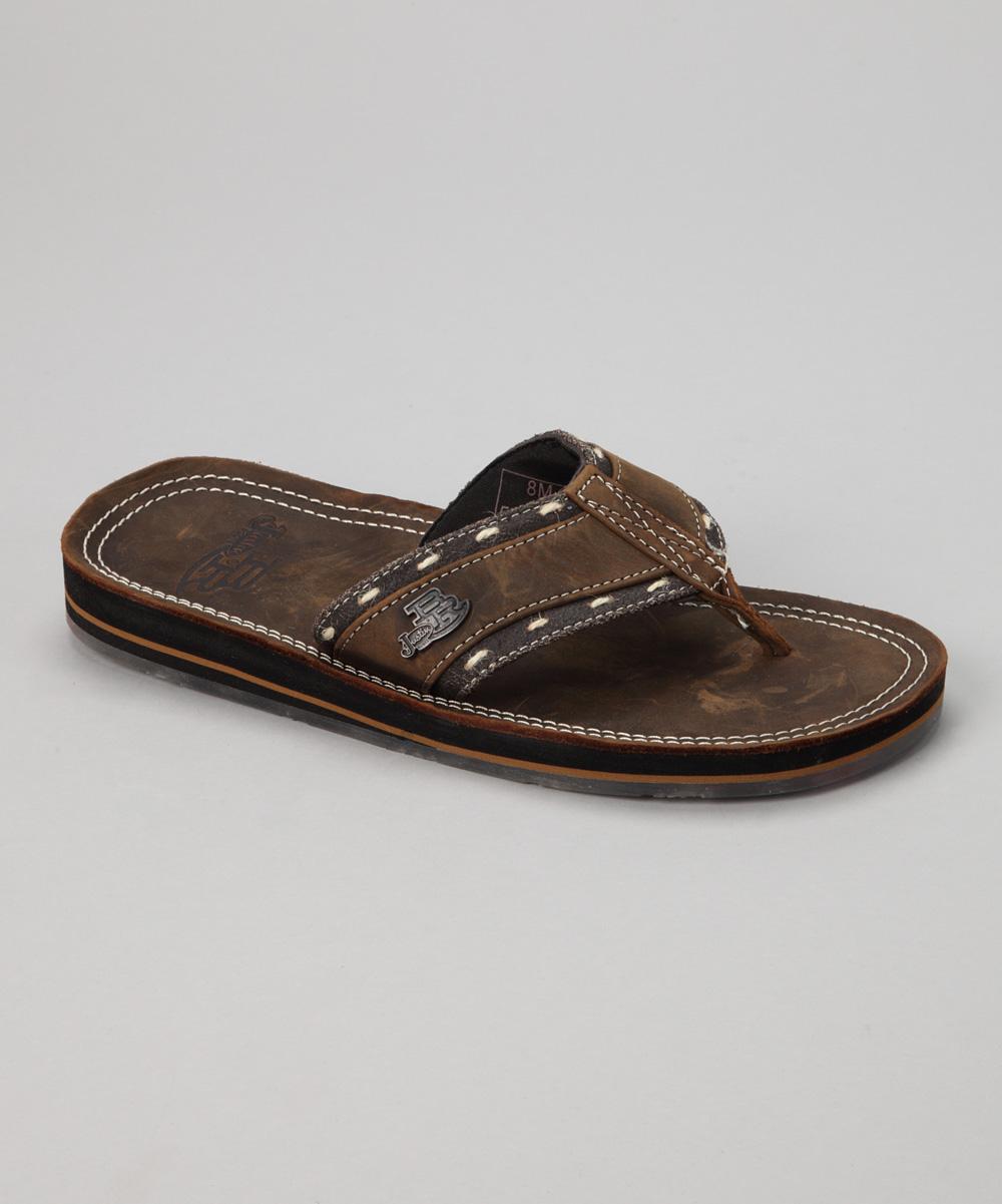 justin boots brown edge stitch bent rail flip flop