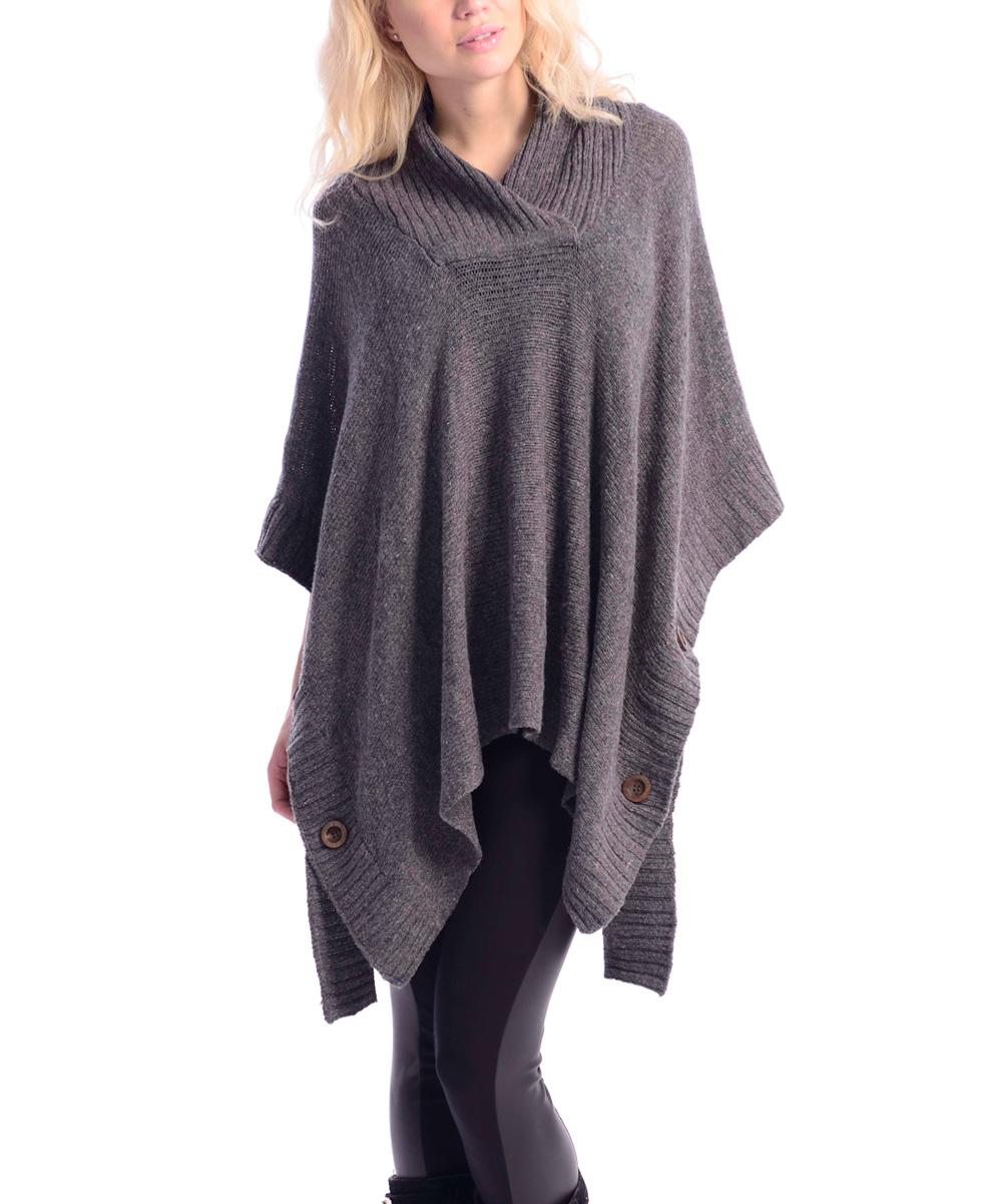 Knitting Pattern Side Button Poncho : VICE VERSA Dark Gray Side-Button Poncho zulily