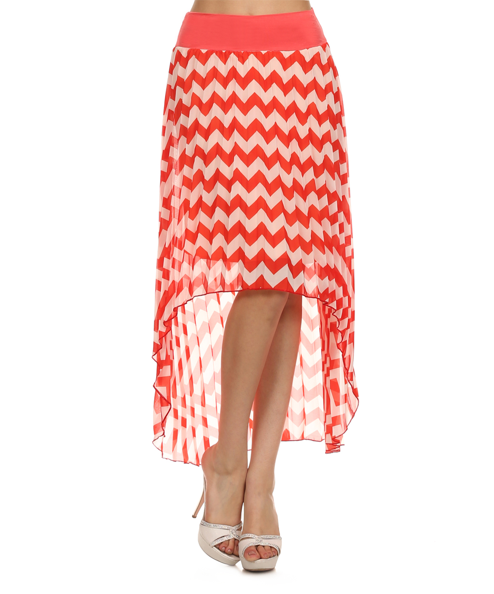 coral white chevron hi low skirt