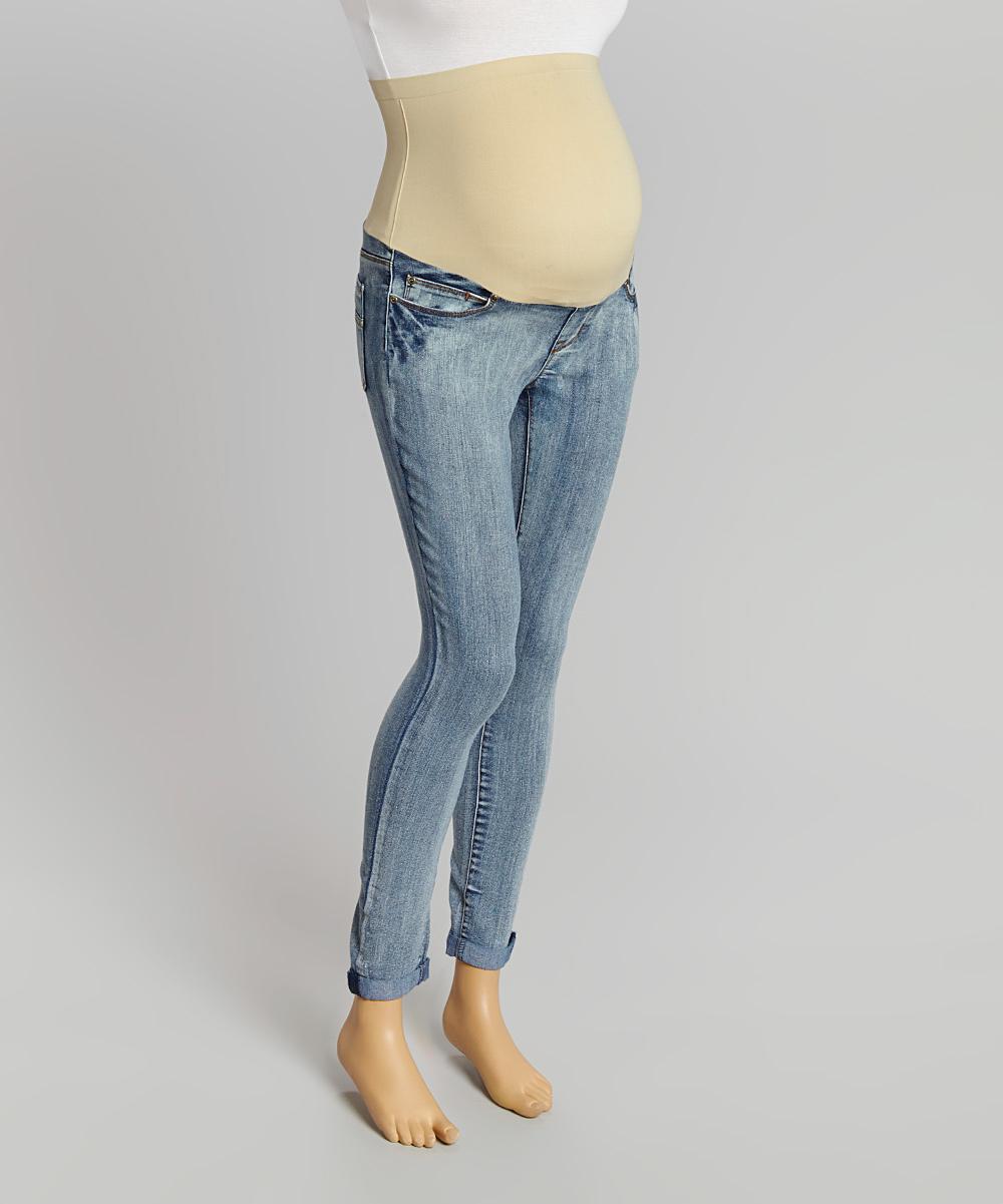 mom co light wash over belly maternity skinny jeans. Black Bedroom Furniture Sets. Home Design Ideas