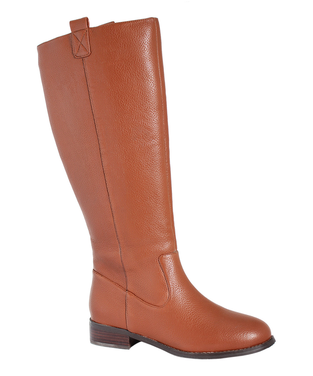 cognac lone wide calf leather boot
