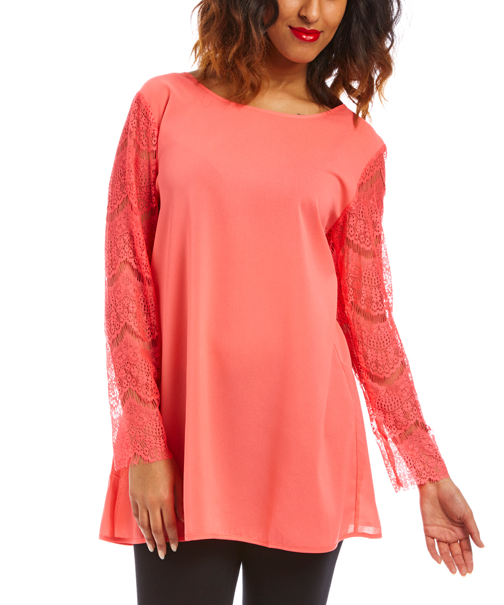 Coral Lace Scoop Neck Tunic - Women & Plus   zulily