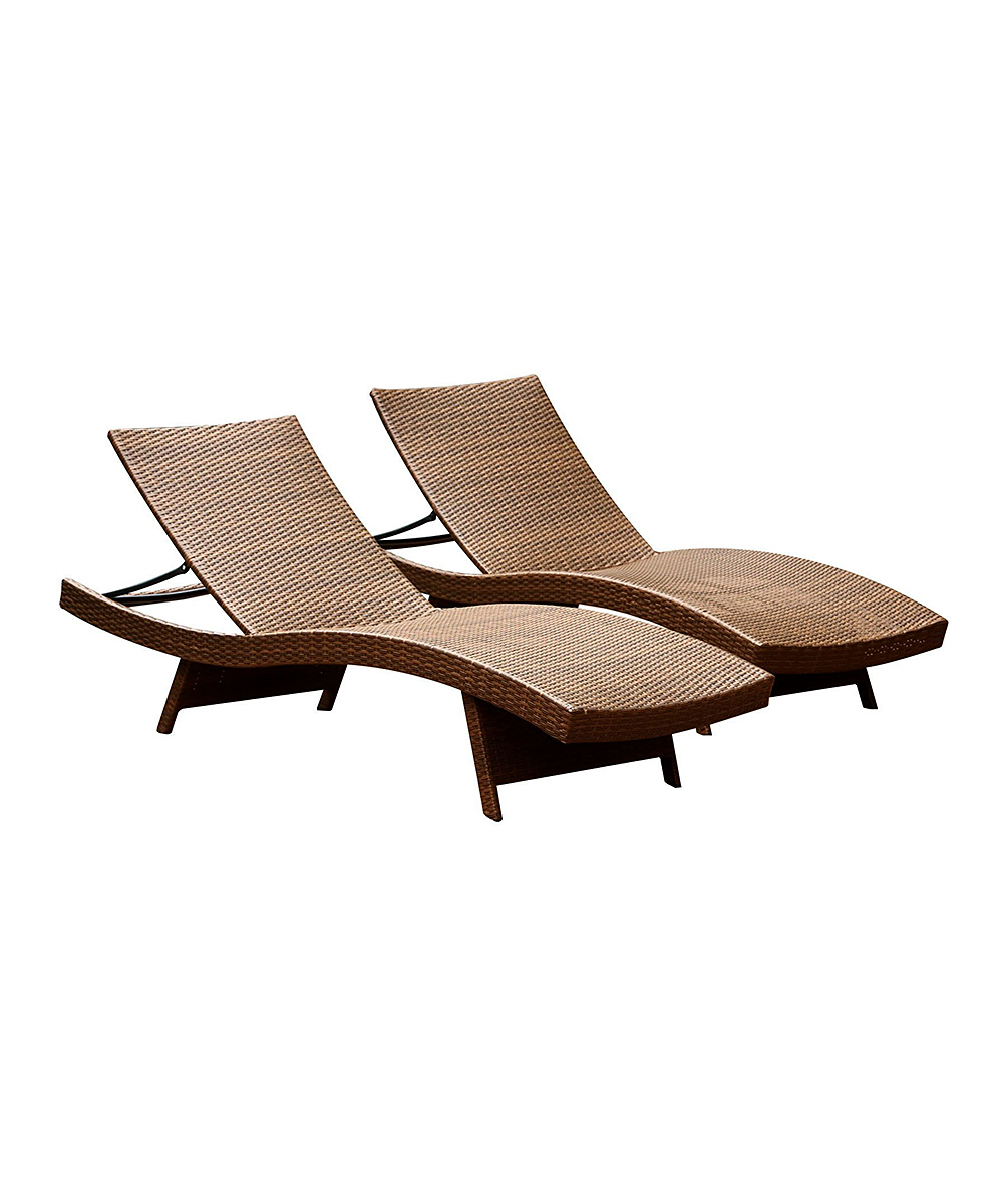 Brown palermo adjustable outdoor chaise lounge set of for Brown chaise lounge outdoor