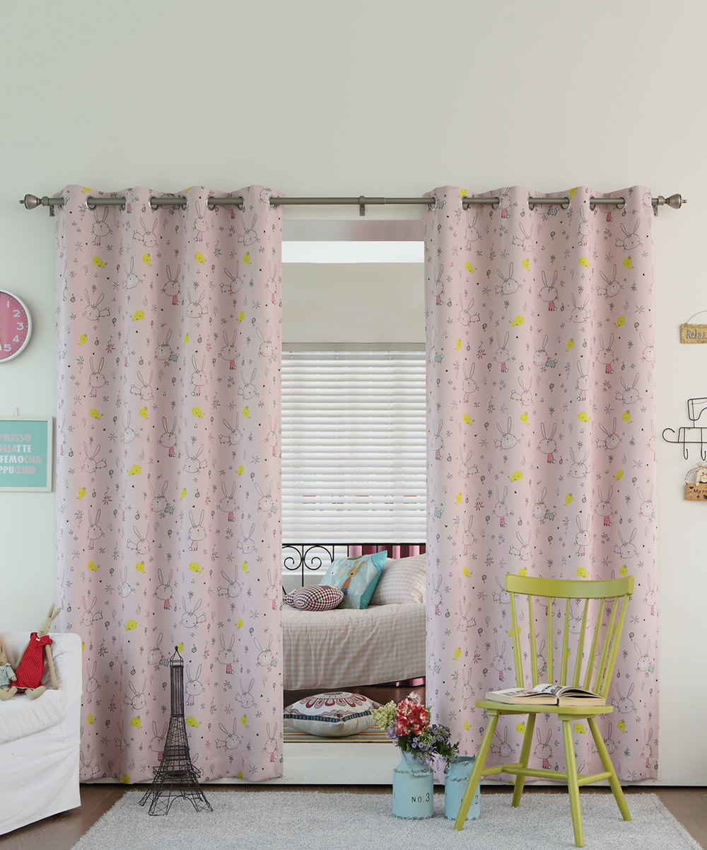 Best Home Fashion Pink Bunny Room Darkening Grommet Top