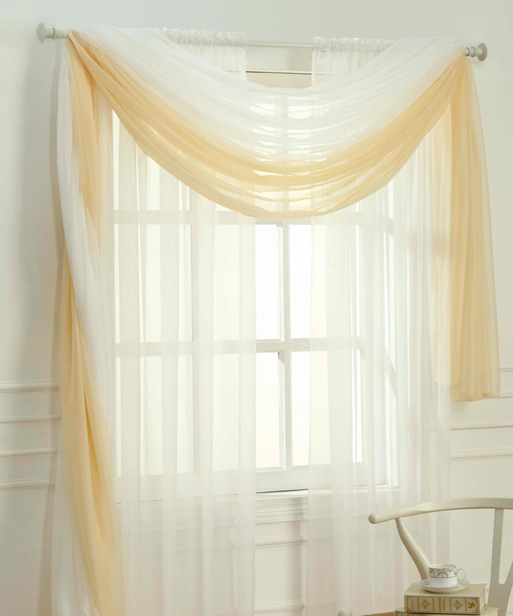 dainty home white adielle sheer window scarf zulily