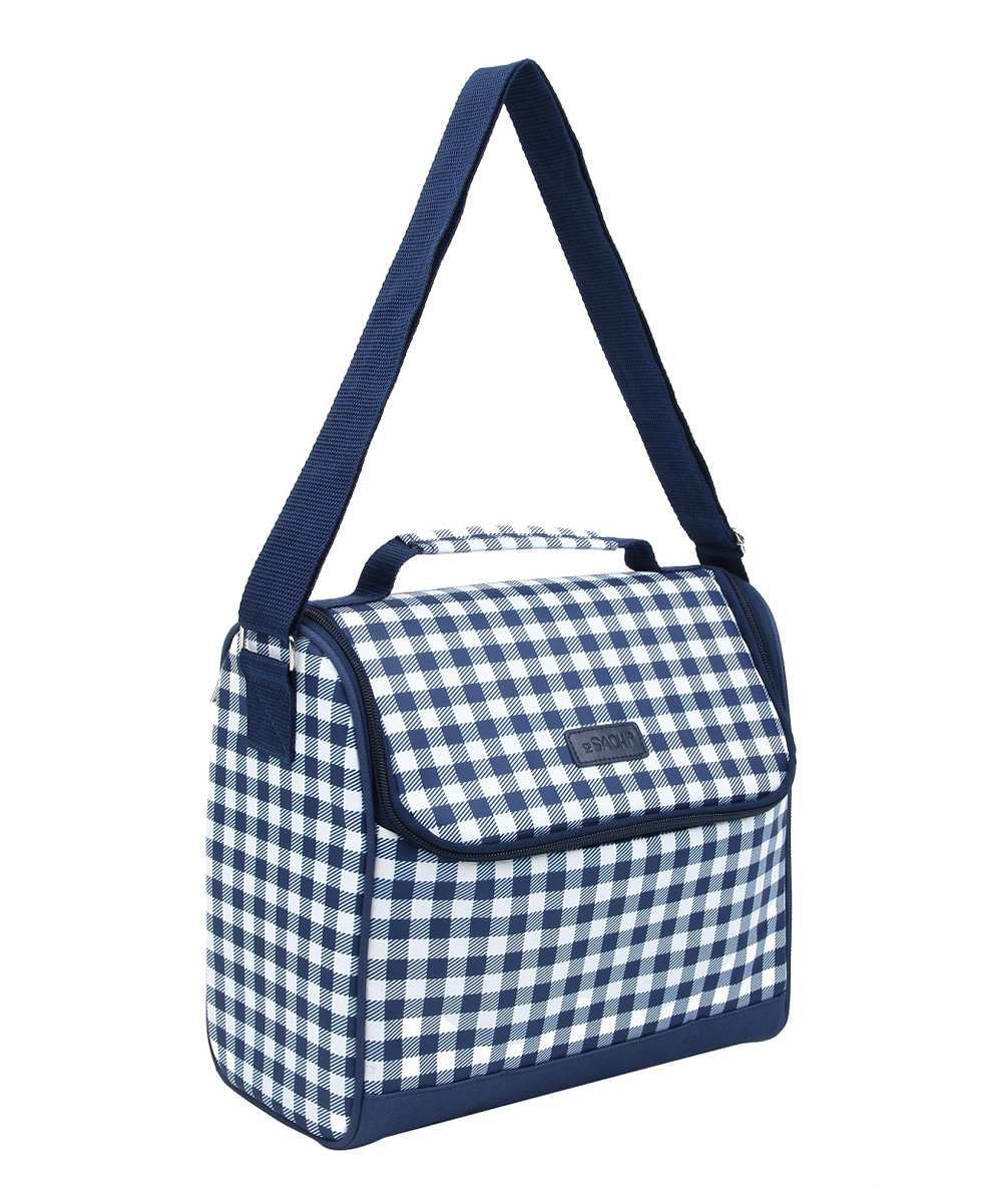 sachi blue gingham insulated crossbody lunch bag zulily
