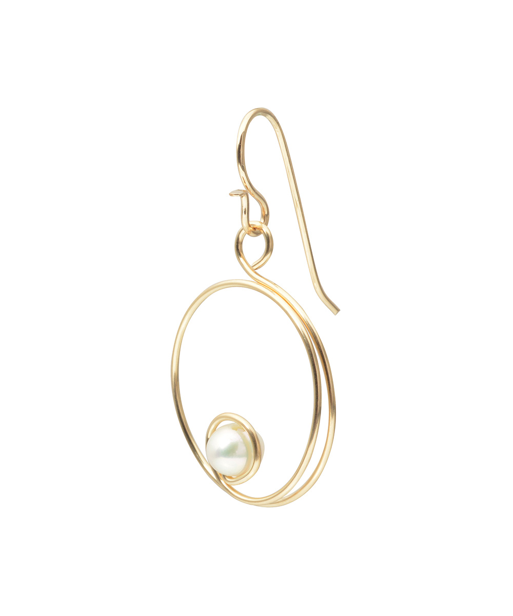 journee collection faux pearl goldtone spiral hoop