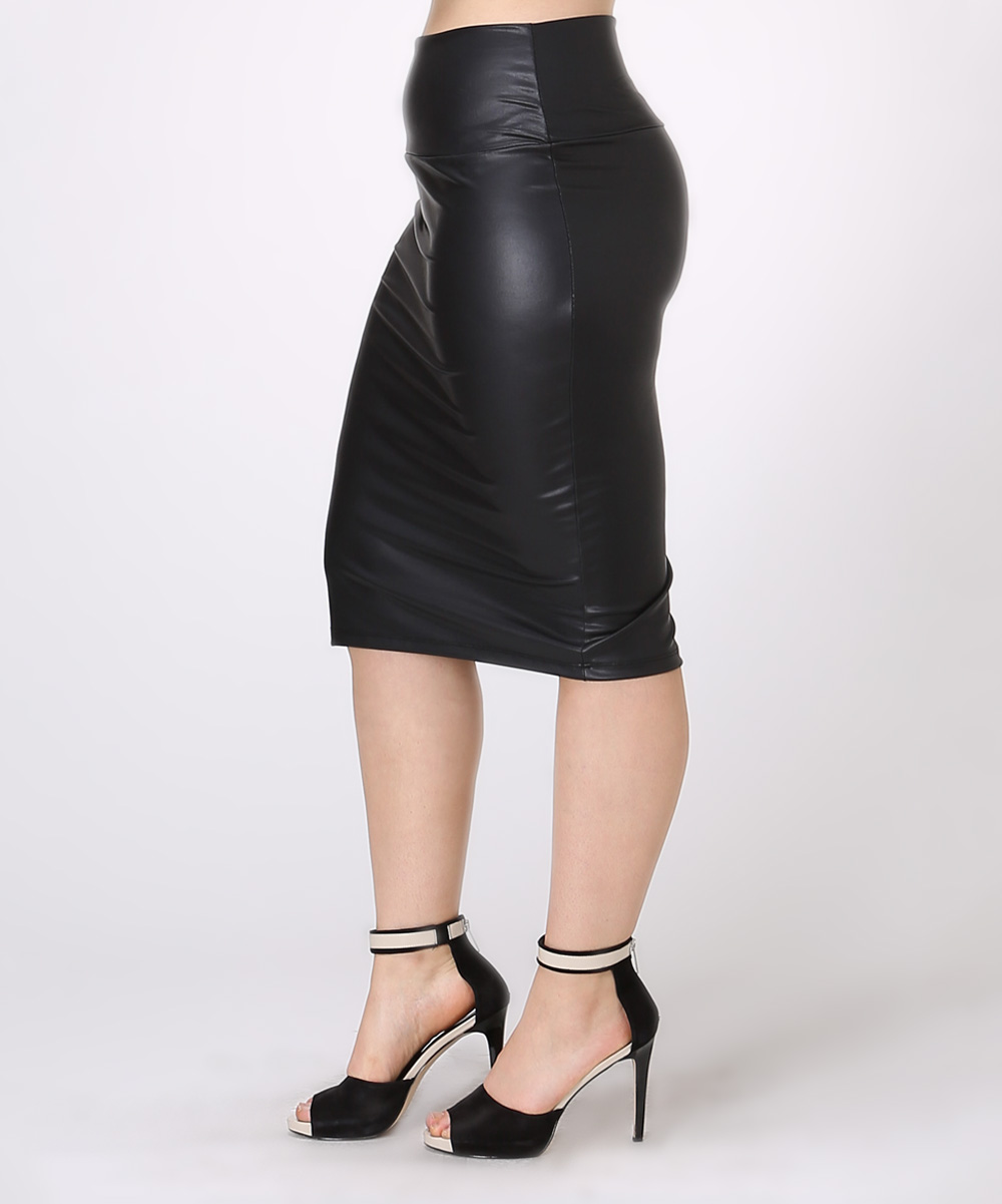 bold beautiful black faux leather pencil skirt plus