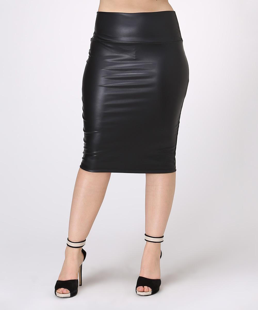 bold beautiful black faux leather pencil skirt plus