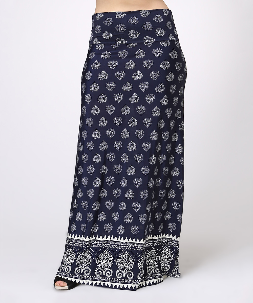 bold beautiful blue white leaf maxi skirt plus zulily