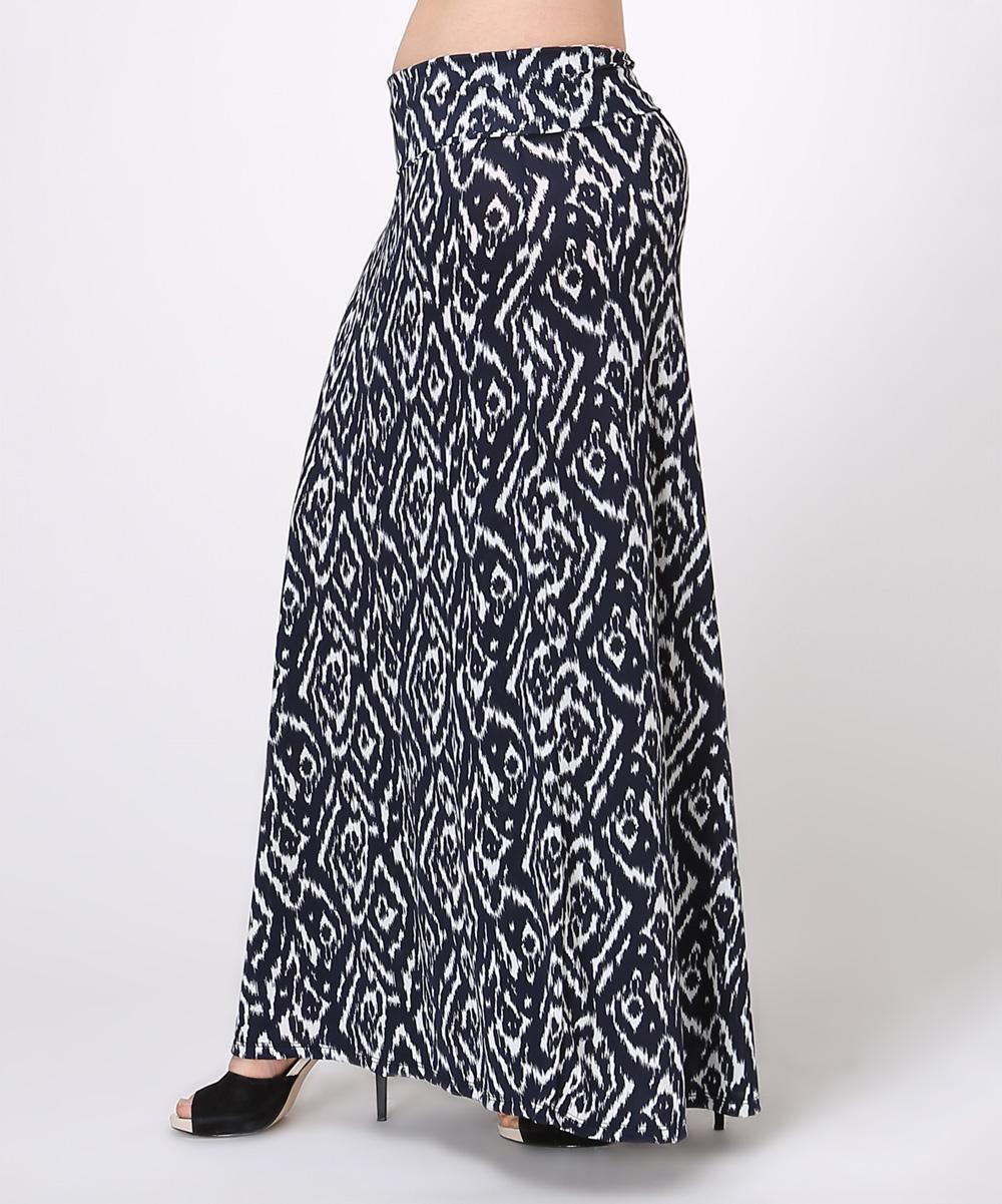 bold beautiful navy white ikat maxi skirt plus zulily
