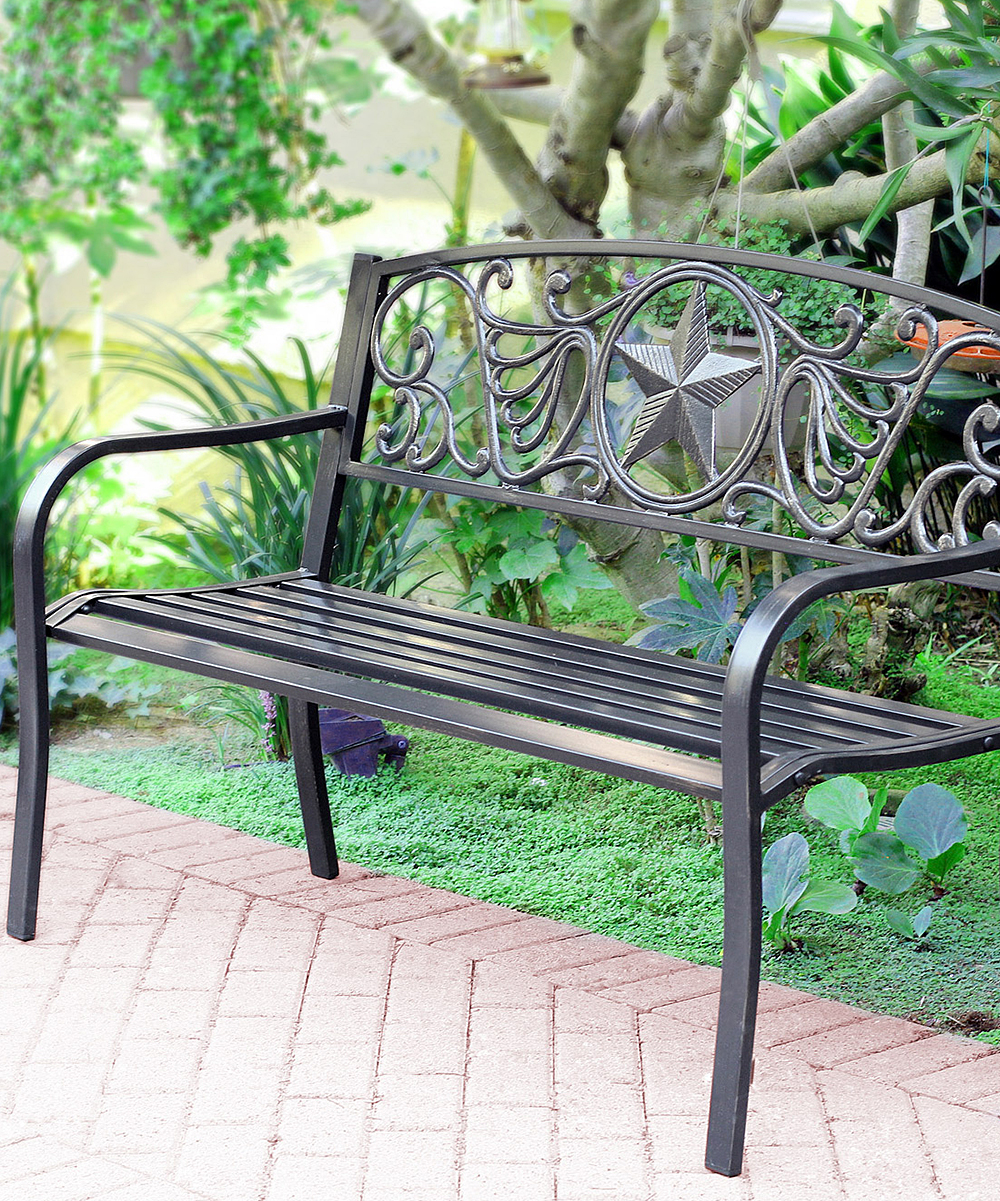 Jeco Inc Star Curved Steel Park Bench Zulily