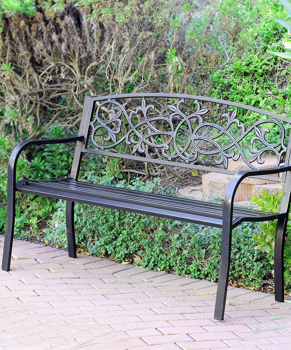 Jeco Inc Scrolling Hearts Curved Steel Park Bench Zulily