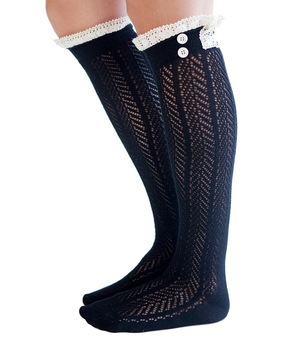 Crochet Knee High Socks : Boutique Socks Black Crochet-Lace Knee-High Socks zulily