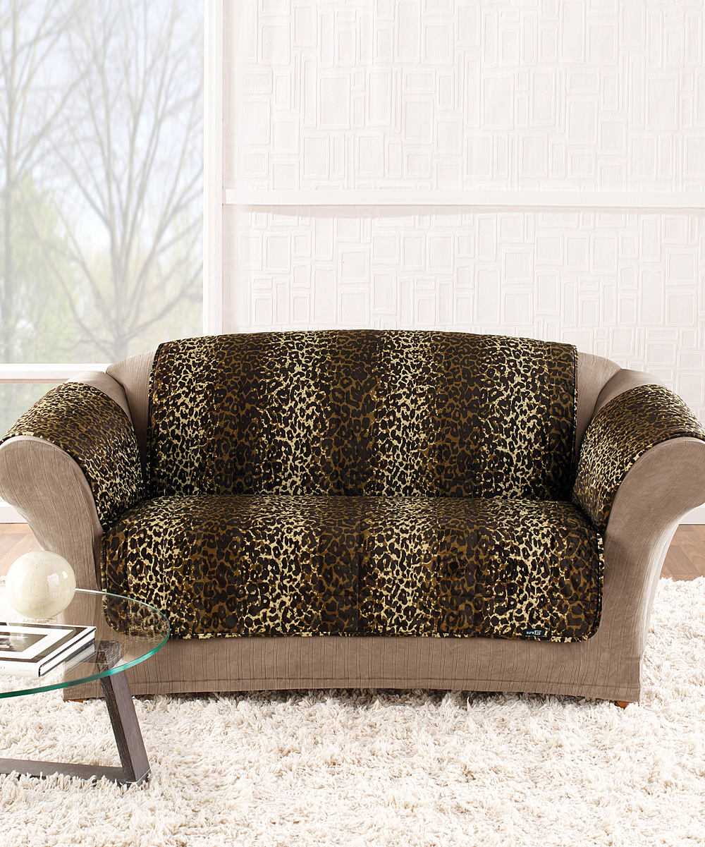 Sure Fit Brown Leopard Casual Love Seat Cover Zulily