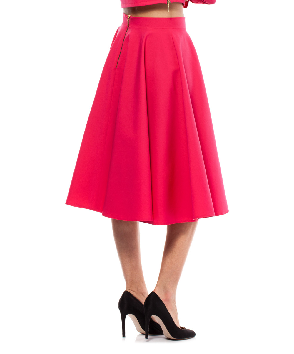 bewear pink pleated a line skirt zulily