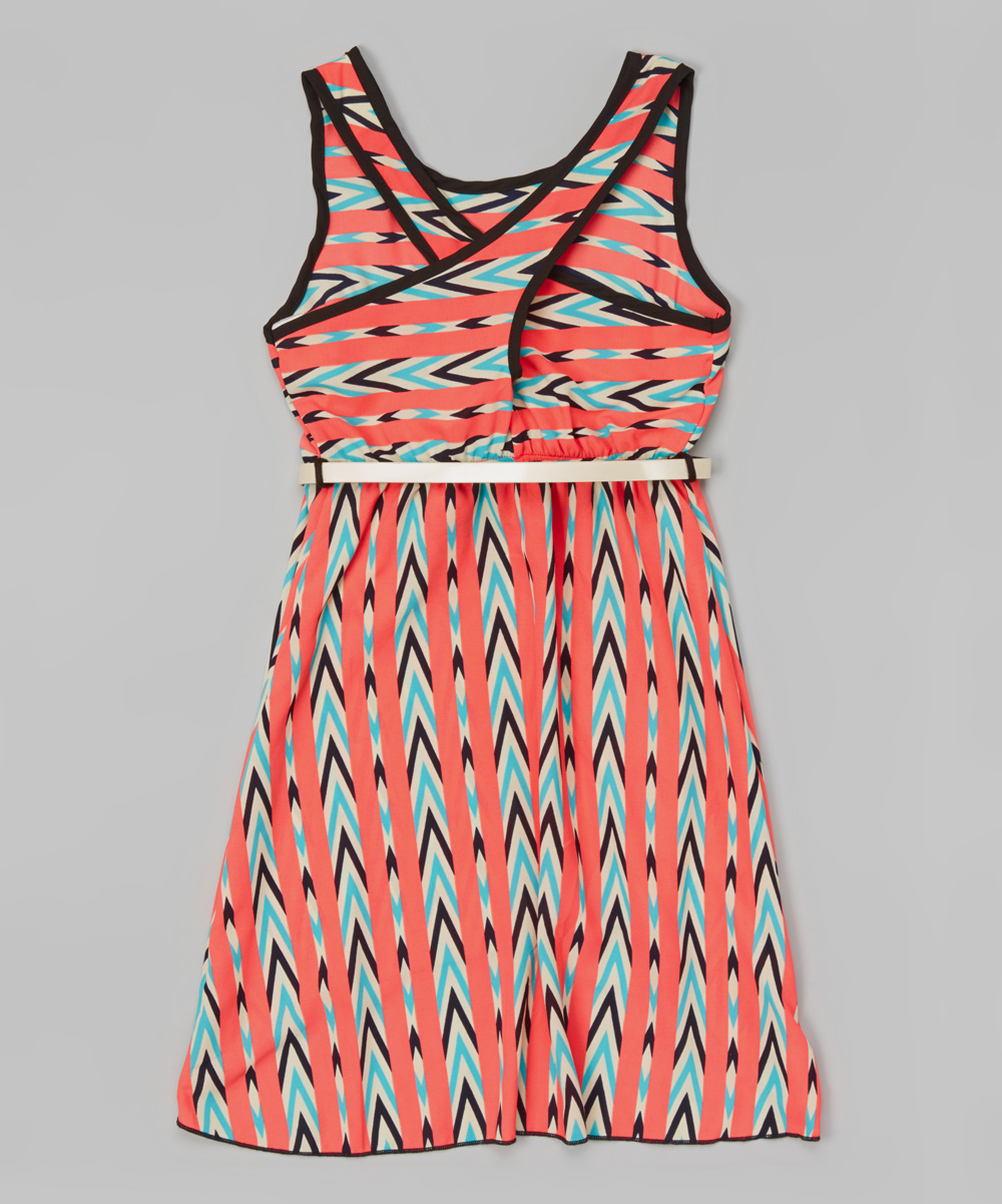 just coral chevron belted dress zulily