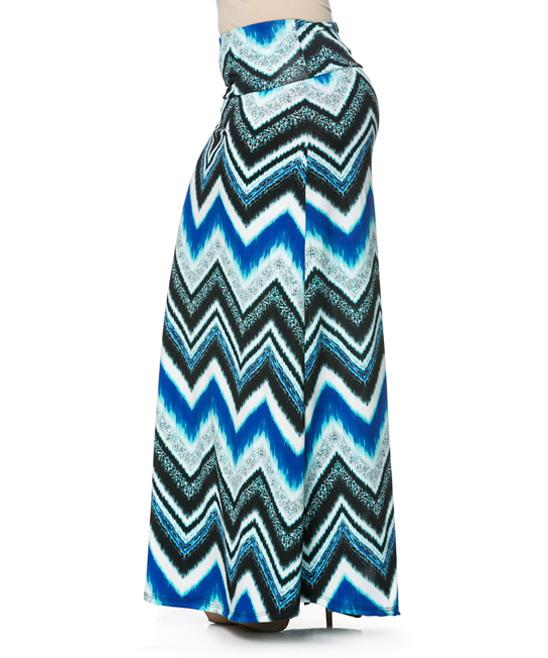 magic fit blue white chevron maxi skirt plus zulily