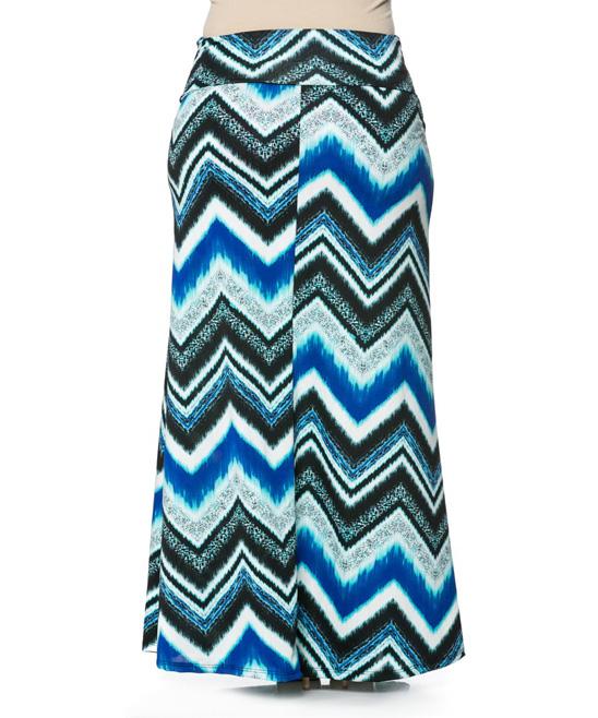 haute apparel blue white chevron maxi skirt plus zulily
