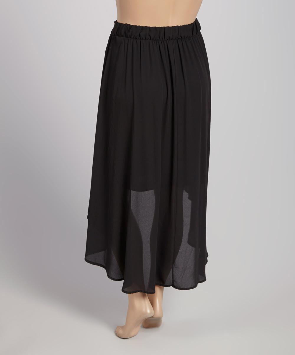 black chiffon hi low skirt plus zulily