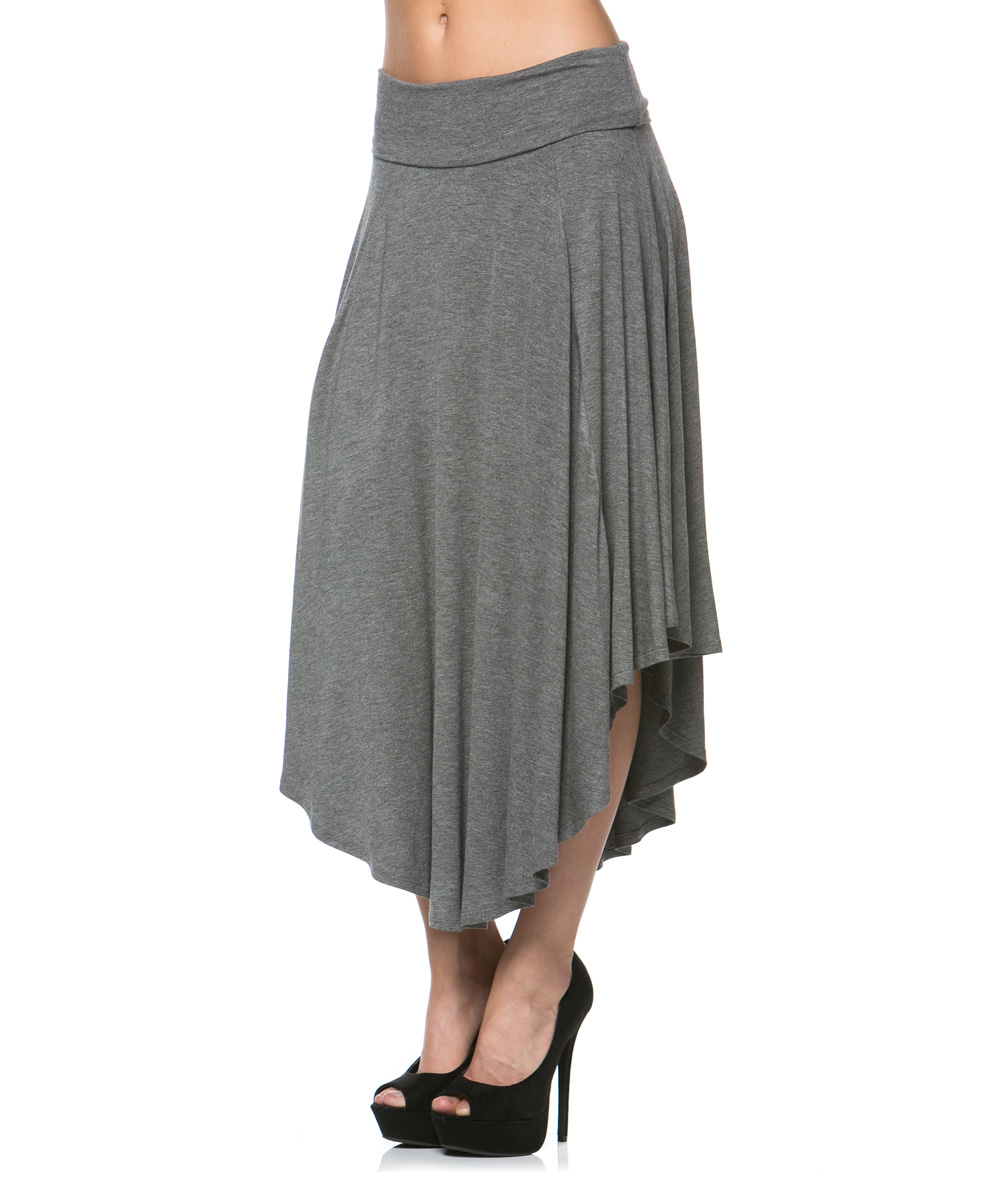 a la tzarina gray asymmetrical midi skirt zulily