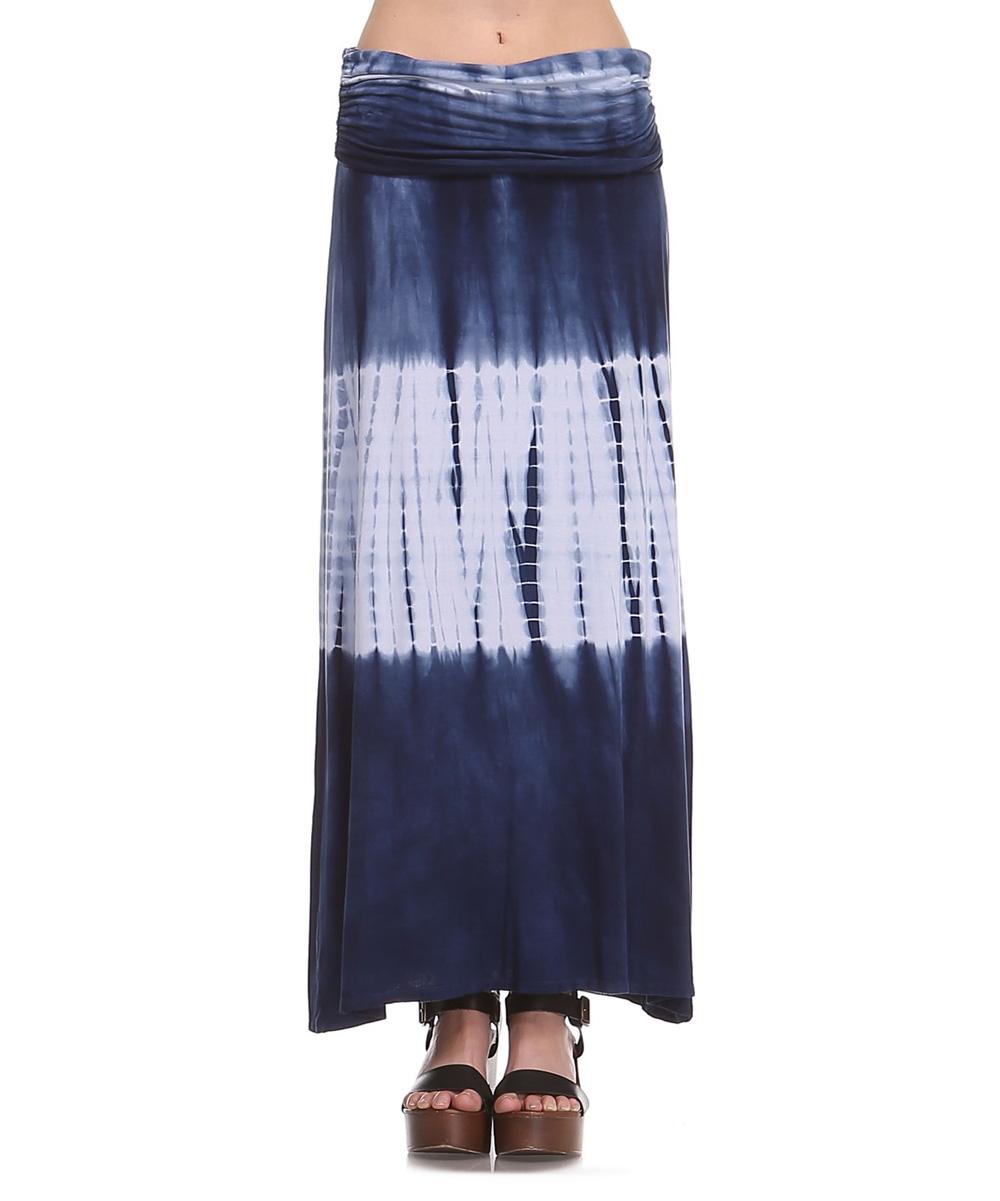 x navy white shirred maxi skirt zulily