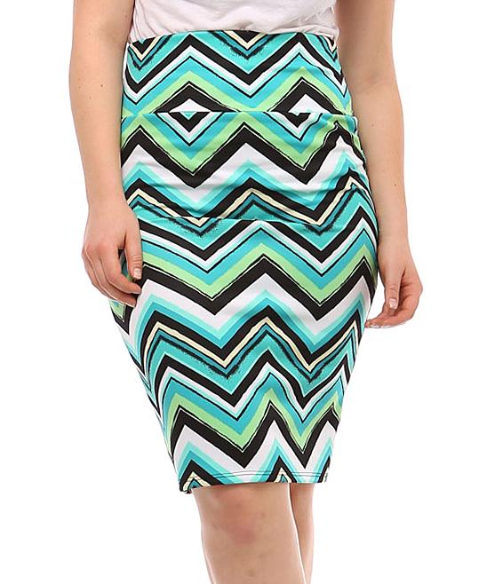 bold beautiful mint chevron pencil skirt plus zulily