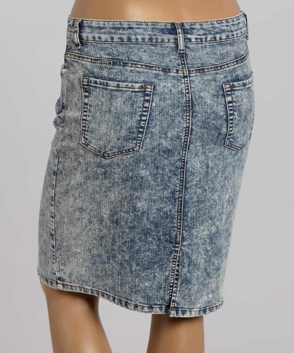 zenobia acid wash denim skirt plus zulily