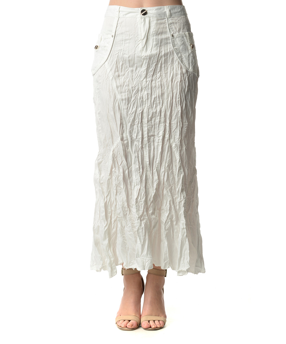 white crinkle maxi skirt