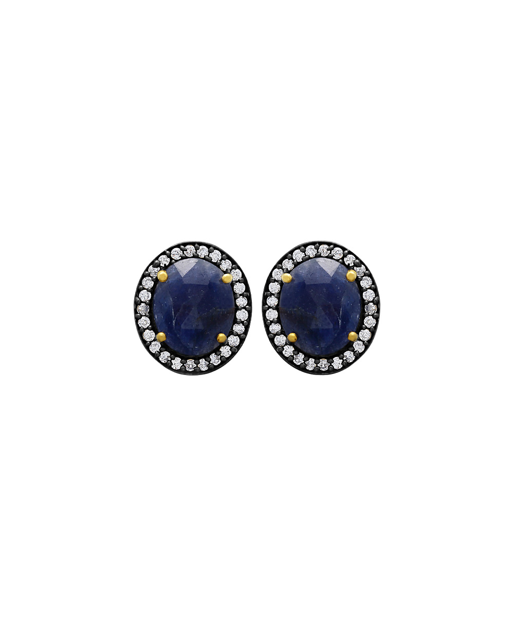 shark stores sapphire cubic zirconia halo stud earrings