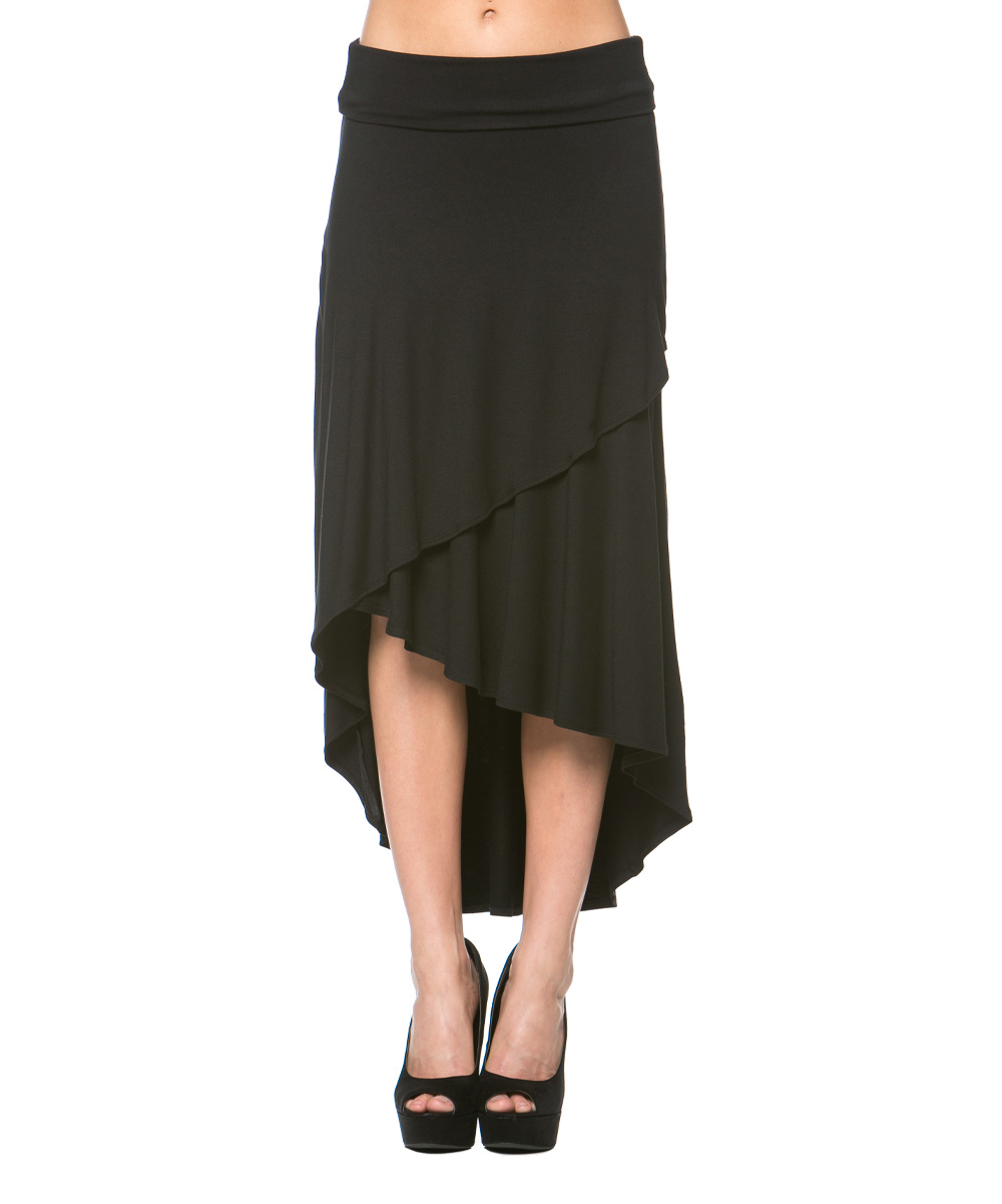 a la tzarina black tier hi low skirt zulily