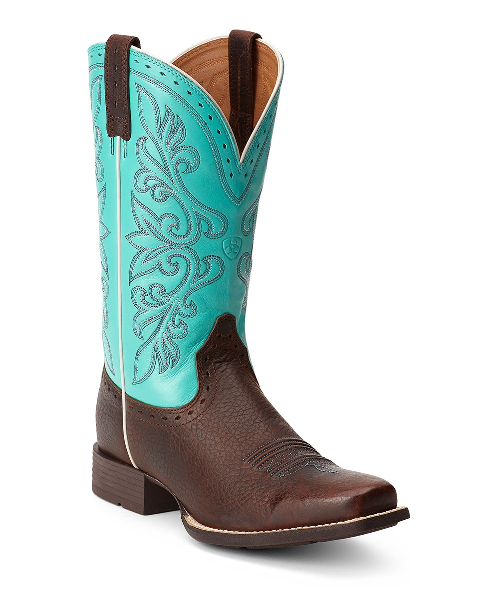 ariat brown turquoise rundown leather western boot