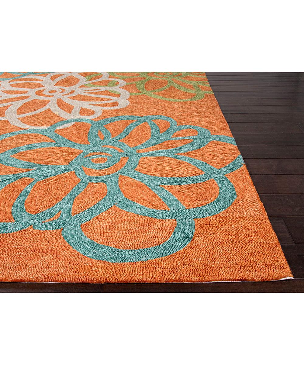 Jaipur Rugs Orange & Blue Floral Indoor Outdoor Rug
