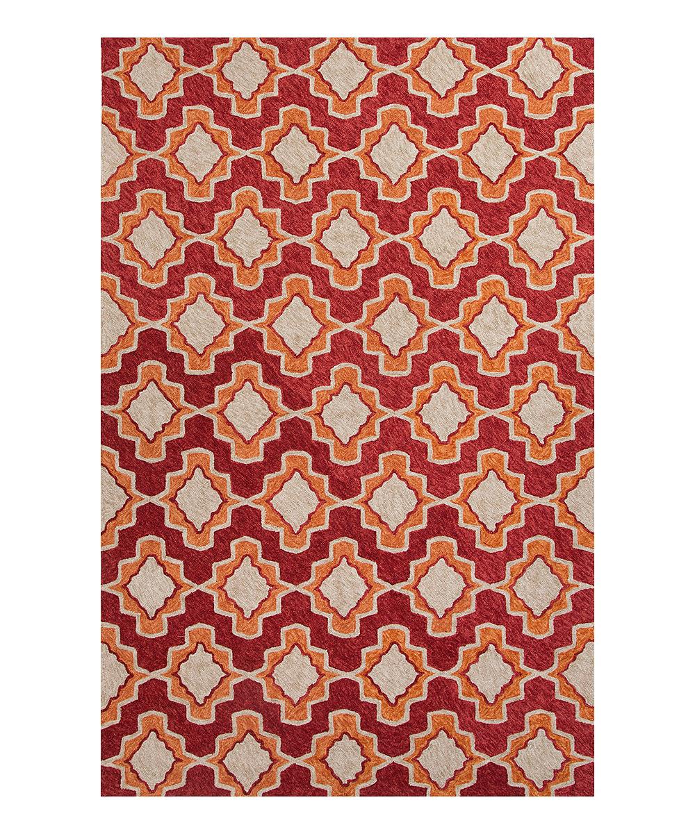 Red & Orange Geo Moroccan Indoor Outdoor Rug