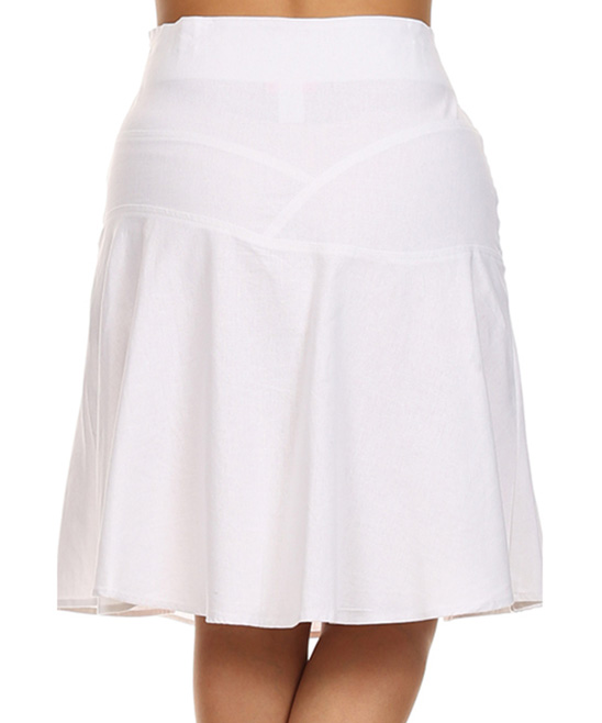 tropical wear white panel linen blend a line skirt plus