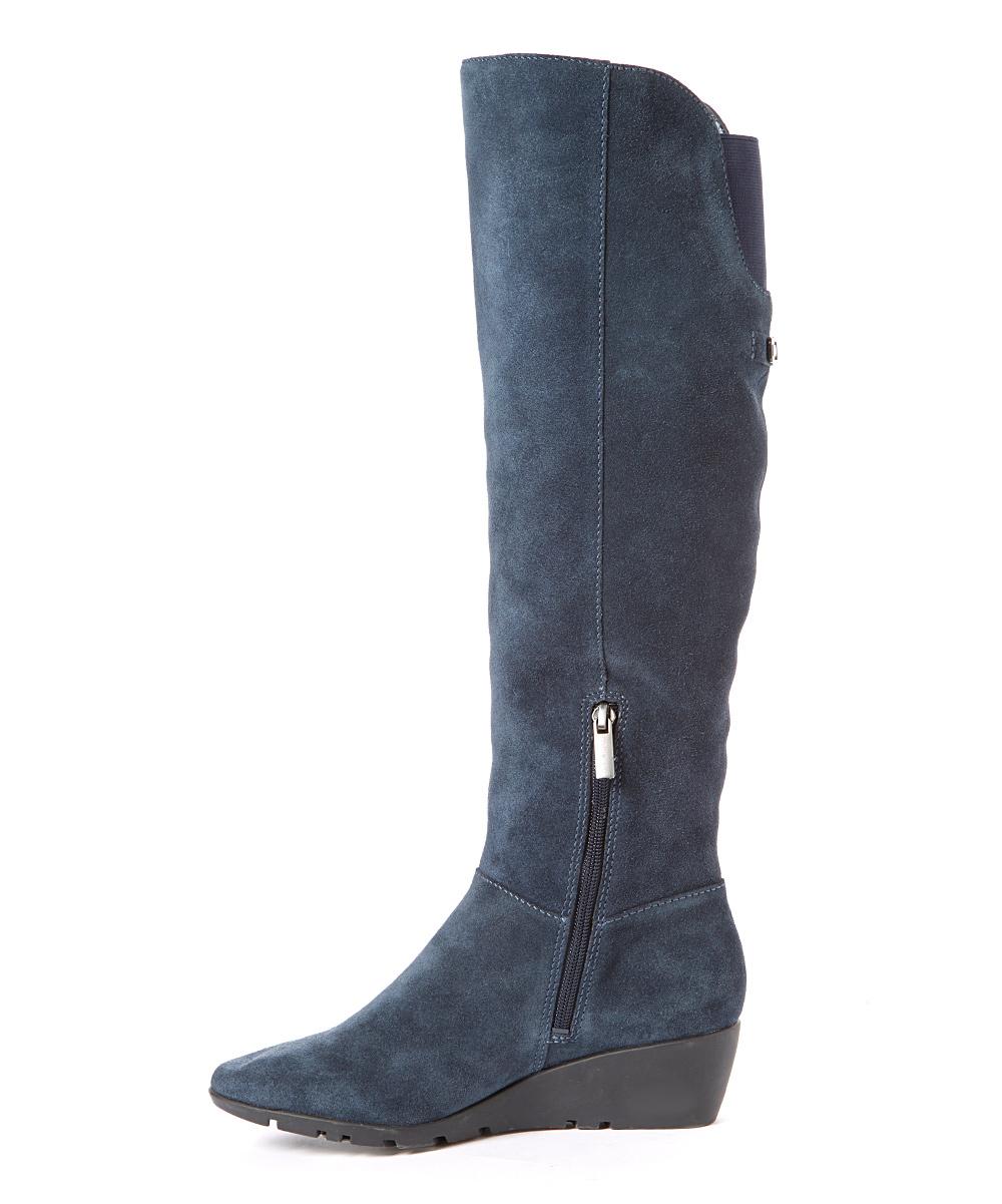 bandolino blue aliba suede wedge boot zulily
